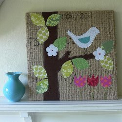 Spring is in the Air Burlap Art