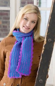 Purple Scalloped Scarf