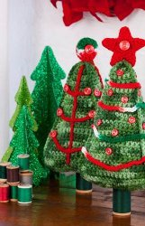 Buttons and Yarn Christmas Trees