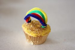 Golden Rainbow Cupcakes