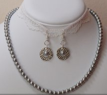Modern Pearl Necklace and Earring Set