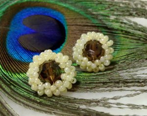 Wire-Wrapped Beaded Stud Earrings