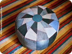 Patchwork Denim Pouf Cushion