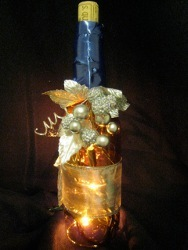Faux Lighted Wine Bottle