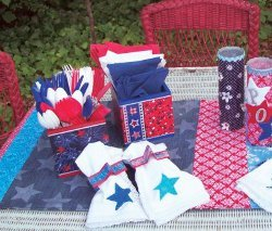 Recycled Jean Patriotic Table Runner