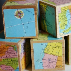 Vintage Map Blocks