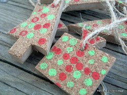 Painted Cork Christmas Ornaments