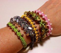 505891337ea37c Macrame Bracelet Patterns. Arm Candy Square Knot Beaded Macrame Bracelets