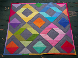 Rainbow Diamonds Mini Quilt