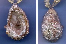 Freeform Peyote Beaded Geode Pendant