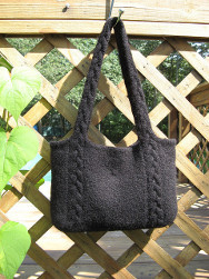 Knit Felted Tote Bag with Diamond Pattern Felted Shopping or Project Bag