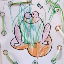 Froggy Coloring and Threading Card