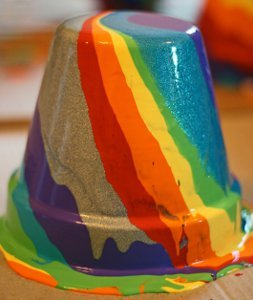 Drip Painted Rainbow Pots