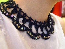 Black Lacy Triangles Necklace