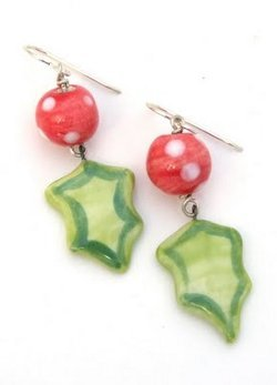 Leaf Charm Holly Earrings