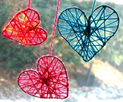 Decorative Yarn Hearts