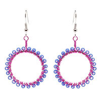 Fuchsia Wire Wrapped Hoops