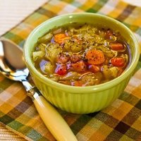 Ham and Cabbage Soup with Red Bell Pepper