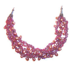 : Bold and Beautiful Crocheted Pearls Necklace