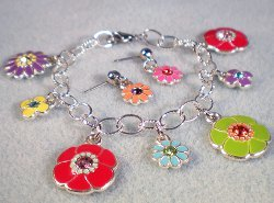 Flower Power Charm Bracelet and Earrings Set