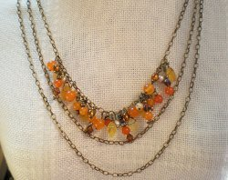 Tangerine Tango Triple Chain Necklace