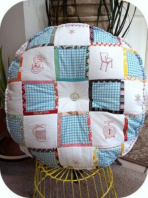 Vintage Embroidered Patchwork Cushion Pattern