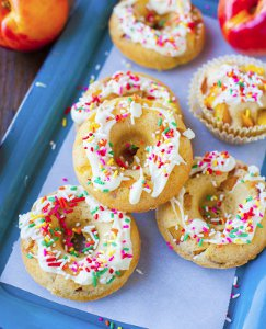 Baked Donuts with Fruit and White Chocolate