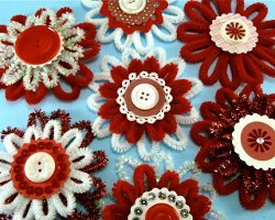 Chenille Button Flower Ornaments