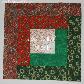 Christmas Log Cabin Quilt Block