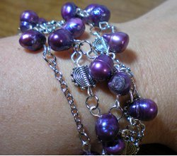 Purple Pearl Bracelet or Necklace