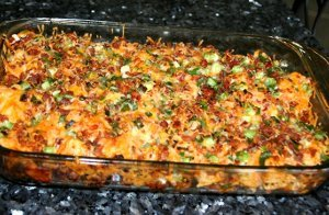 Loaded Potato Buffalo Chicken Casserole