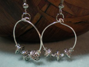 Silver Spacer Bead Hoops