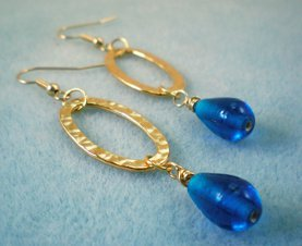 Regal Hammered Hoop Bead Earrings
