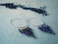 Tapered Seed Bead Dangle Hoops