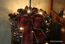 Rustic Pine Cone Light Basket