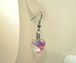 Wire-Wrapped Crystal Heart Earrings