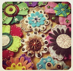 Sequins Embellished Felt Flowers