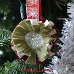 Glittery Ruffle Flower Ornament