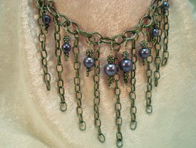 Dramatic Beaded Chain Dangle Choker