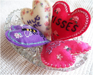 Embroidered Conversation Hearts