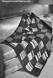 Striped  Plain Reversible Afghan