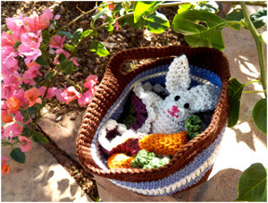 Crocheted Bunny in a Basket
