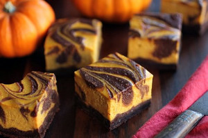 Bourbon Pumpkin Cheesecake Brownies