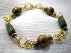 Coiled Connections Bead and Wire Bracelet