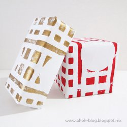 Paint Stamped Wrapping Paper