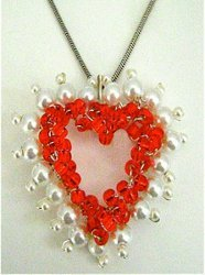 Red Heart Pearl-Lined Wire Pendant