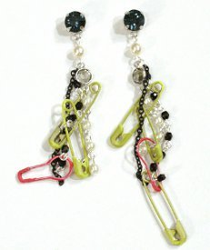 Funky Pearl and Safety Pin Earrings