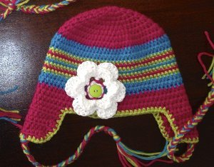 Children's Colorful Braided Ear Flap Hat