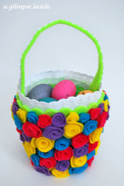 Rosette Embellished Easter Basket