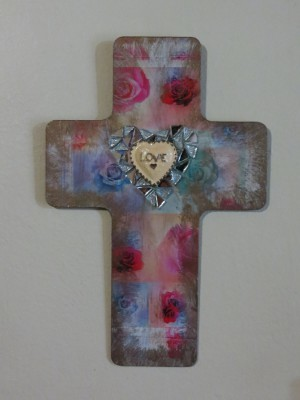 Decoupaged Easter Cross